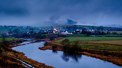 Tinto Hill and the village of Thankerton in South Lanarkshire, Scotland shrouded in low cloud on the evening of 2nd December 2018<br /> <br /> (c) Andrew Wilson | Edinburgh Elite media