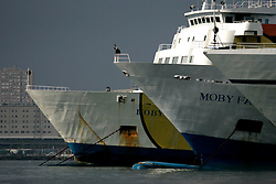 ITALY GENOA 22OCT08 - Bows of ferry shipsat the port of Genoa, Italy...jre/Photo by Jiri Rezac..© Jiri Rezac 2008..Contact: +44 (0) 7050 110 417.Mobile:  +44 (0) 7801 337 683.Office:  +44 (0) 20 8968 9635..Email:   jiri@jirirezac.com.Web:    www.jirirezac.com..All images © Jiri Rezac 2008. All rights reserved.
