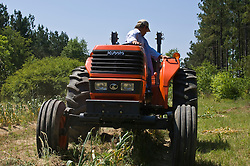 Farmer on his tractor cultivating his field
