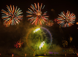 London, January1st 2017. The traditional New Year's fireworks display takes place at the London Eye on the banks of the River Thames, creating a spectacle for thousands of revellers on the Embankment. <br /> <br /> &copy;Paul Davey. FOR LICENCING CONTACT: Paul Davey +44 (0) 7966 016 296 paul@pauldaveycreative.co.uk