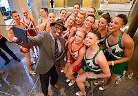 The TODAY show's Al Roker takes a selfie with the Radio City Rockettes shortly before their appearance on his show.
