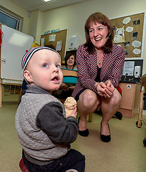 Pictured: Maree Todd meets Cooper Boardman (2) from Inverkeithing.<br /> <br /> Minister for Children and young people Maree Todd launched the Scottish Government's new national standards for childcare and early years providers on a visit to the Treetop Family Centre in Inverkeithing.<br /> <br /> © Dave Johnston / EEm