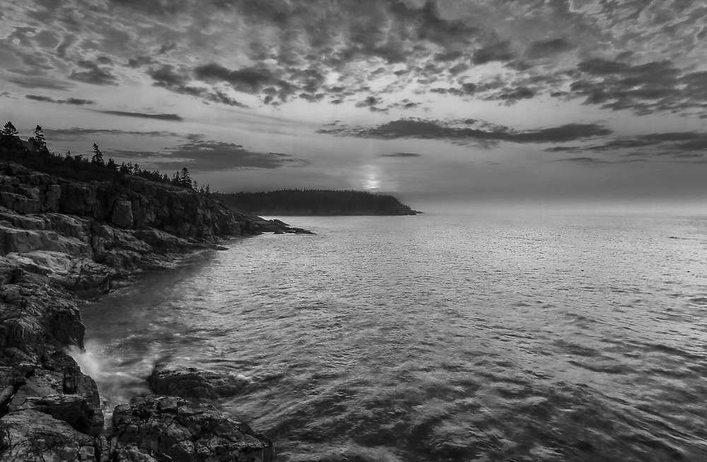B&W New England seascape photography of the iconic Maine Acadia National Park shoreline. This national park is located on Mount Desert Island.<br />