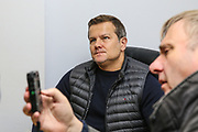 Forest Green Rovers head coach, Mark Cooper pre match interview during the EFL Sky Bet League 2 match between Forest Green Rovers and Scunthorpe United at the New Lawn, Forest Green, United Kingdom on 7 December 2019.