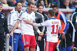 Football: Germany, 1. Bundesliga, Braunschweig, 15.02.2014<br />Pierre-Michel Lasogga and Ivo Ilicevic  (Hamburger SV) goal celebration<br /> copyright: pixathlon
