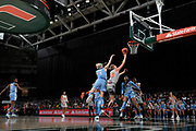 January 20, 2019: Emese Hof #21 of Miami in action during the NCAA basketball game between the Miami Hurricanes and the North Carolina Tar Heels in Coral Gables, Florida. The 'Canes defeated the Tar Heels 76-68.