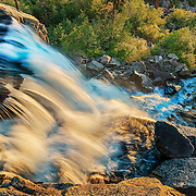 A picture of Eagle Falls near Lake Tahoe. Photographed in mid-April, the falls were in full flood. Almost all photos of this falls are taken from the other side of the creek in order to capture the rising sun, but only 30 feet away is this rare perspective.