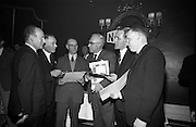 05/04/1966<br /> 04/05/1966<br /> 05 April 1966<br /> Presentation Awards for entries in the N.A.I.D.A. Parade at the Shelbourne Hotel, Dublin. Photo shows  (l-r): Mr. L.V. Nolan, President of the N.A.I.D.A. and Mr. T.A. Lynch, Chairman, St. Patrick's Day Committee with the winners of medallions, Mr. C.J. Thompson, (Thompson Barnett and Co.); Mr. Christopher Carroll, (Catholic Housing Aid Society); Mr. T.F. Geoghegan (Bord Iascaigh Mhara) and Mr. James Skelly, (Skelly's Tube Loom).