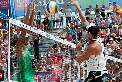 Alexander Horst of Austria vs Mariusz Prudel of Poland at A1 Beach Volleyball Grand Slam tournament of Swatch FIVB World Tour 2010, on July 31, 2010 in Klagenfurt, Austria. (Photo by Matic Klansek Velej / Sportida)
