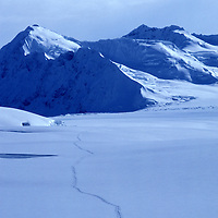 USA, Alaska, Denali National Park, Climbers ski up Kahiltna Glacier along West Buttress route up Mount McKinley