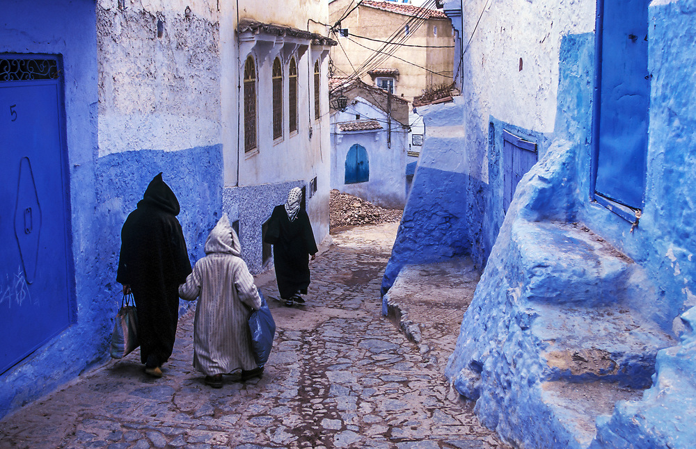 Blue painted and whitewashed streets characterize Chouen in the Rif Mountains, Morocco