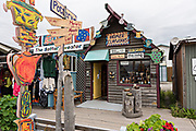 Quirky shops on Homer Spit on Kamishak Bay in Homer, Alaska.