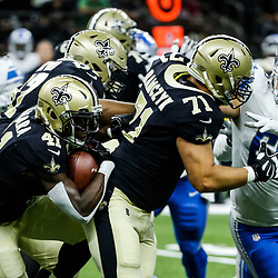 Oct 15, 2017; New Orleans, LA, USA; New Orleans Saints running back Alvin Kamara (41) runs against the Detroit Lions during the first quarter of a game at the Mercedes-Benz Superdome. Mandatory Credit: Derick E. Hingle-USA TODAY Sports
