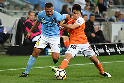 October 6, 2017 - Melbourne, Victoria, Australia - MANNY MUSCAT (2) of Melbourne City and JOE CALETTI (18) of Brisbane fight for the ball in the round one match of the A-League between Melbourne City and Brisbane Roar at AAMI Park, Melbourne, Australia. Melbourne won 2-0 (Credit Image: © Sydney Low via ZUMA Wire)