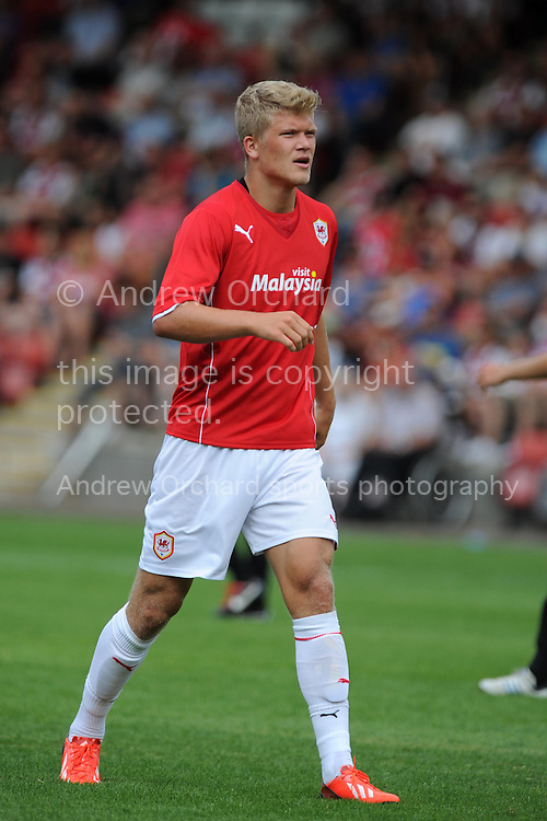 Cardiff city's Andreas Cornelius in action. Pre-season friendly football match, Cheltenham Town v Cardiff city at the Abbey Business stadium in Cheltenham, England on Sat 27th July 2013. pic by Andrew Orchard,  Andrew Orchard sports photography,