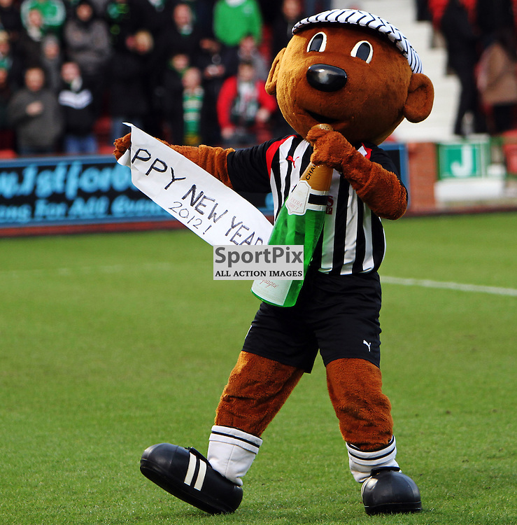The Clydesdale Bank Scottish Premier League, Season 2011/12.Dunfermline Athletic Football Club v Celtic Football Club.02-01-12...Mascot Sammy the Tammy shows of a new year message in this afternoons  Clydesdale Bank Scottish Premier League game between Dunfermline Athletic FC and Celtic FC..At East End Park Stadium, Dunfermline...Picture, Craig Brown ..Monday 2nd January 2012.