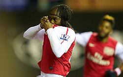 03.12.2011, DW Stadium, Wigan, ENG, Premier League, Wigan Athletic vs FC Arsenal, 14. Spieltag, im Bild Arsenal's Gervinho celebrates scoring the third goal against Wigan Athletic // during the football match of english Premier League, 14th round between Wigan Athletic an FC Arsenal at DW Stadium, Wigan, ENG on 2011/12/03. EXPA Pictures © 2011, PhotoCredit: EXPA/ Sportida/ David Rawcliff..***** ATTENTION - OUT OF ENG, GBR, UK *****
