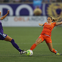 ORLANDO, FL - APRIL 23: Kaylyn Kyle #6 of Orlando Pride and Kealia Ohai #7 of Houston Dash fight for a loose ball during a NWSL soccer match at the Orlando Citrus Bowl on April 23, 2016 in Orlando, Florida. (Photo by Alex Menendez/Getty Images) *** Local Caption *** Kaylyn Kyle; Kealia Ohai