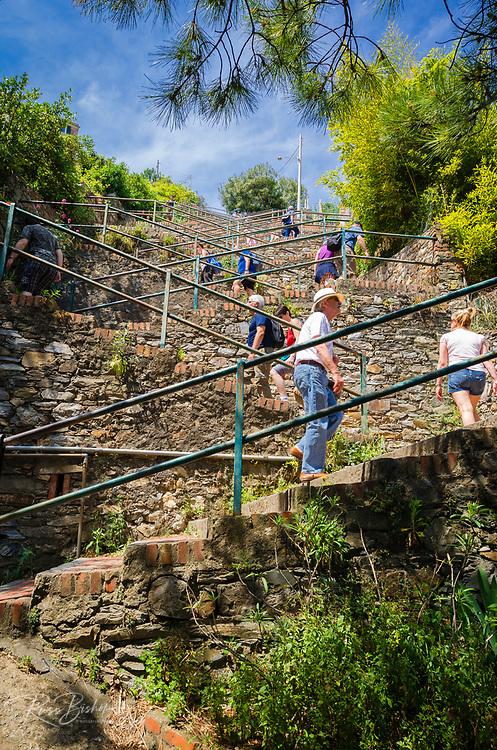 Staircase leading to Corniglia, Cinque Terre, Liguria, Italy