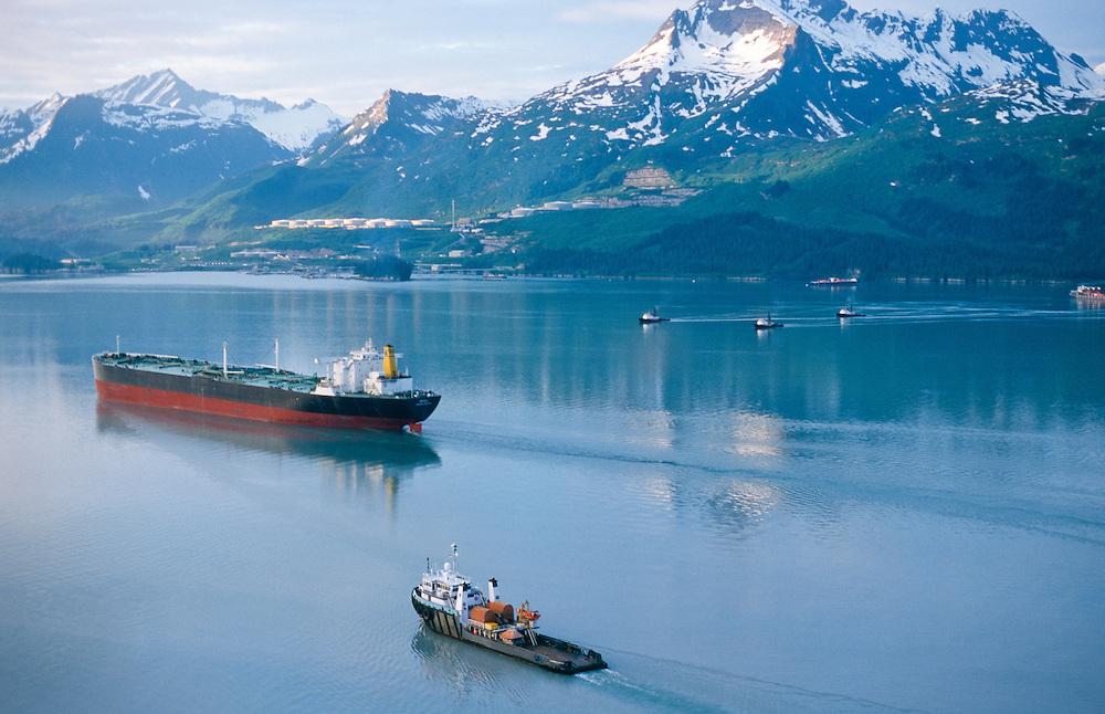 Alaska. Valdez Arm, S/S Denali Tanker with escort vessels heading for loading at the Valdez Marine terminal.