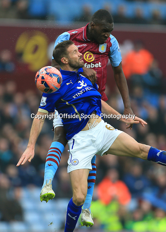 15th February 2015 - FA Cup 5th Round - Aston Villa v Leicester City - Matthew Upson of Leicester battles with Christian Benteke of Villa - Photo: Simon Stacpoole / Offside.