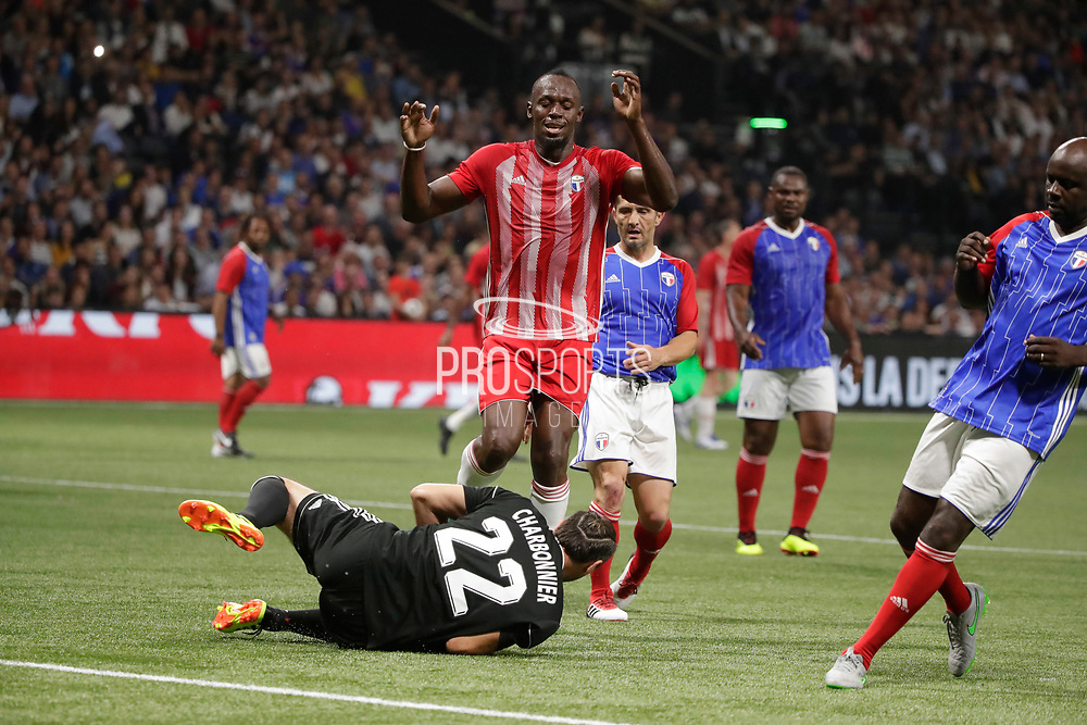 Usain Bolt (FIFA 98), Lionel Charbonnier (France 98), Bixente Lizarazu (France 98) during the 2018 Friendly Game football match between France 98 and FIFA 98 on June 12, 2018 at U Arena in Nanterre near Paris, France - Photo Stephane Allaman / ProSportsImages / DPPI