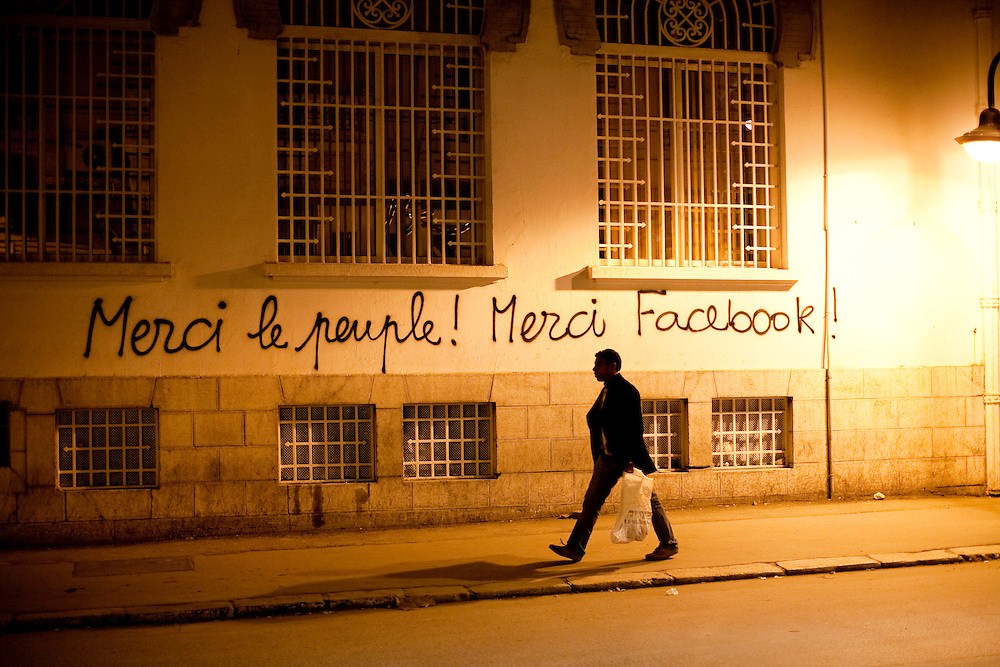 """Tunis, Tunisia. January 29th 2011.""""Thanks the People ! Thanks Facebook !"""" on a wall close to Avenue Bourguiba...."""