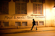 "Tunis, Tunisia. January 29th 2011.""Thanks the People ! Thanks Facebook !"" on a wall close to Avenue Bourguiba...."