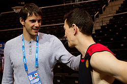 Bostjan Nachbar and Vlado Ilievski of Macedonia  after the practice session of Slovenian national basketball team at FIBA Europe Eurobasket Lithuania 2011, on September 13, 2011, in Kauno Arena,  Kaunas, Lithuania.  (Photo by Vid Ponikvar / Sportida)