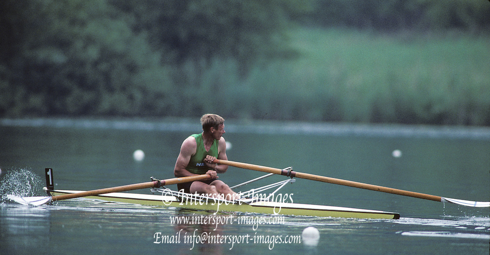 Lucerne, SWITZERLAND   Bronze medalist, FIN M1X, Pertti KARPPINEN. 1992 FISA World Cup Regatta, Lucerne. Lake Rotsee.  [Mandatory Credit: Peter Spurrier: Intersport Images] 1992 Lucerne International Regatta and World Cup, Switzerland