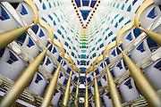 Jumeirah, Burj Al Arab, the World's most luxurious hotel. The futuristic Atrium Foyer.