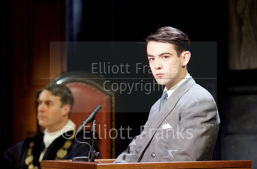 Witness for the Prosecution by Agatha Christie <br /> at London County Hall, Southbank, London, Great Britain <br /> press photocall <br /> 20th October 2017 <br /> <br /> directed by Lucy Bailey <br /> <br /> Leonard Vole as Jack Mullen <br /> <br /> <br /> <br /> <br /> Photograph by Elliott Franks <br /> Image licensed to Elliott Franks Photography Services