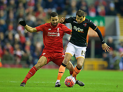 LIVERPOOL, ENGLAND - Wednesday, January 20, 2016: Liverpool's Kevin Stewart in action against Exeter City's Alex Nicholls during the FA Cup 3rd Round Replay match at Anfield. (Pic by David Rawcliffe/Propaganda)