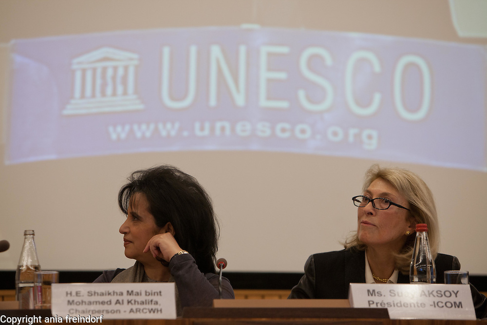 International Conference, World Heritage Sites, organized by UNESCO, ARCWH, ALESCO, ICCROM, ICOMOS, IUCN, ICOM, at UNESCO Headquarters, Paris, France, Shaikha Mai bint Mohamed Al Khalifa, Chairperson a of ARCWH, Bahrain.