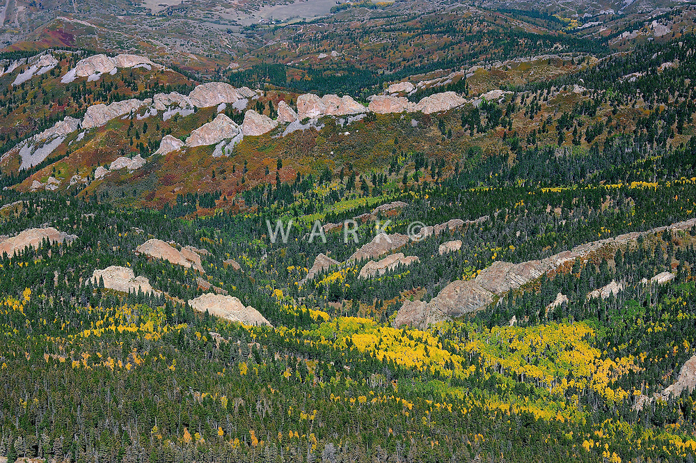Foothills of the Spanish Peaks near La Veta, Colorado, apen and igneous dikes in fall