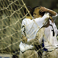 Raith Rovers v St Johnstone...29.11.03<br />Mixu Paatelainen is congratulated after putting St Johnstone 3-1 up<br /><br />Picture by Graeme Hart.<br />Copyright Perthshire Picture Agency<br />Tel: 01738 623350  Mobile: 07990 594431