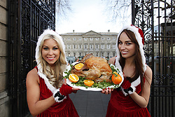 Models Tiffany Stanley and Daniella Moyles are pictured outside Leinster House as Betfair announce details of their plans to give away 150 Irish turkeys in their annual 'Beat the Budget' giveaway from a branded butcher shop on Dublin's Camden Street. Pic Andres Poveda.