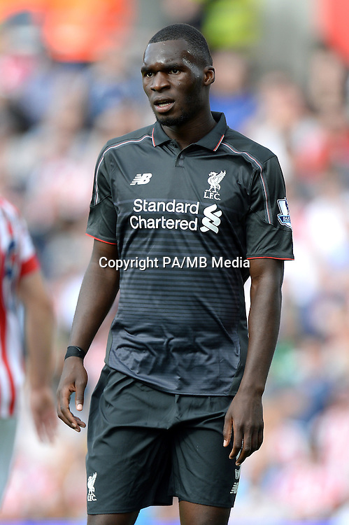 Liverpool's Christian Benteke during the Barclays Premier League match at the Britannia Stadium, Stoke-on-Trent.