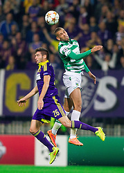 Aleksander Rajcevic of Maribor vs Islam Slimani of Sporting during football match between NK Maribor and Sporting Lisbon (POR) in Group G of Group Stage of UEFA Champions League 2014/15, on September 17, 2014 in Stadium Ljudski vrt, Maribor, Slovenia. Photo by Vid Ponikvar  / Sportida.com