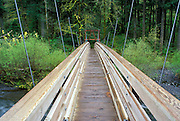 Wooden footbridge crossing Eagle Creek, Columbia River Gorge National Scenic Area, Oregon