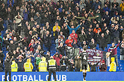 Burnley FC players thanking the Burnley FC supporters in the South Stand at the end of the game following the Premier League match between Brighton and Hove Albion and Burnley at the American Express Community Stadium, Brighton and Hove, England on 9 February 2019.