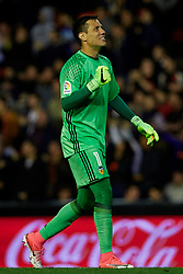 April 6, 2017 - Valencia, Valencia, Spain - Diego Alves goalkeeper of Valencia CF celebrates after a goal during the La Liga match between Valencia CF and Real Club Celta de Vigo at Mestalla Stadium on April 6, 2017 in Valencia, Spain. (Credit Image: © David Aliaga/NurPhoto via ZUMA Press)