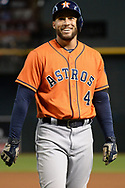 PHOENIX, AZ - AUGUST 15:  George Springer #4 of the Houston Astros smiles on the field in the first inning of the MLB game against the Arizona Diamondbacks at Chase Field on August 15, 2017 in Phoenix, Arizona.  (Photo by Jennifer Stewart/Getty Images)
