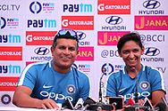 Indian coach Tushar Arothe and Harmanpreet Kaur of India speaks during the India team press conference held at the Reliance Cricket Stadium in Vadodara,  ahead of the first ODI match between India and Australia on the 11th March 2018<br /> <br /> <br /> Photo by Vipin Pawar / BCCI / SPORTZPICS