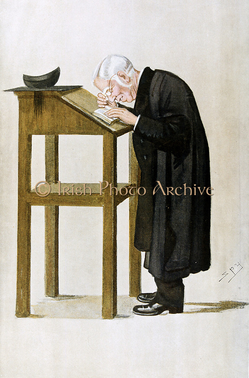 William Archibald Spooner (1844-1930) British clergyman and educationalist. Albino, suffered poor eyesight. Spoonerisms (matathesis) named for him (i.e. 'town drain' for 'down train') 'Spy' (Leslie Ward), cartoon from 'Vanity Fair', London, 1898.