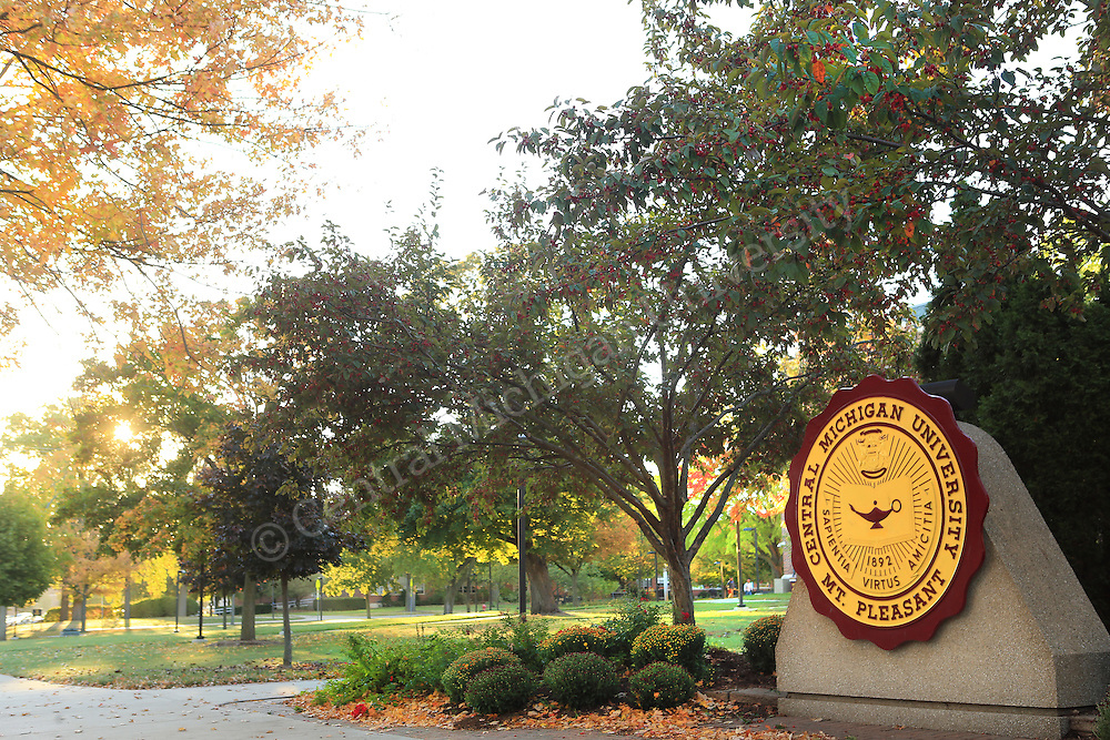 Fall Color scenics, Warriner Mall, CMU Seal, October 2013. Central Michigan University photo by Steve Jessmore