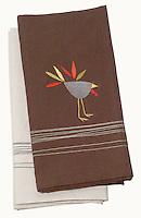 turkey napkin in brown and white