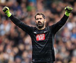 Scott Carson of Derby County celebrates Chris Martin of Derby County's opening goal - Mandatory byline: Robbie Stephenson/JMP - 07966 386802 - 03/10/2015 - FOOTBALL - iPro Stadium - Derby, England - Derby County v Brentford - Sky Bet Championship