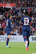 ADRIEN RABIOT (PSG) scored a goal, Serge Aurier (psg) during the French Championship Ligue 1 football match between Paris Saint-Germain and SM Caen on May 20, 2017 at Parc des Princes stadium in Paris, France - Photo Stephane Allaman / ProSportsImages / DPPI