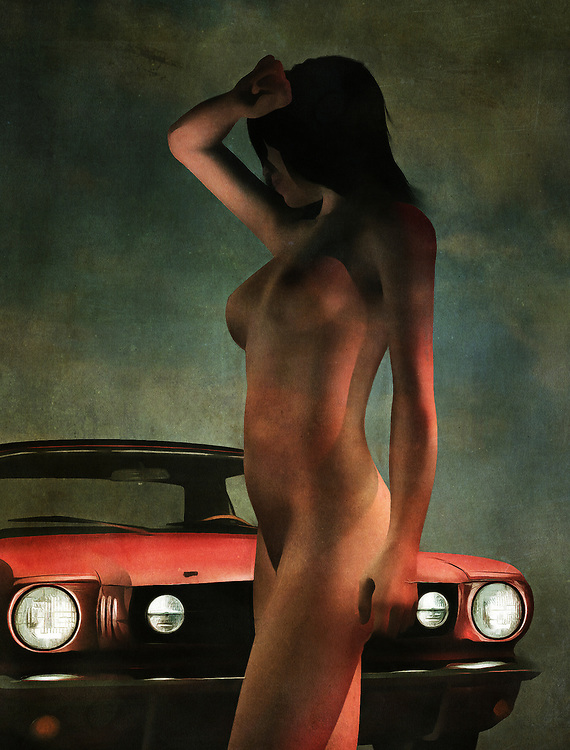 Two striking images come for us, from the moment we first set eyes upon this emotionally charged, compelling acryl on canvas piece. We see an iconic Ford Mustang parked. In front of this classic car stands a beautiful nude woman. The woman has a hand above her eyes, and she is looking to something. It stands to reason that she wants to know who is driving the car. Unfortunately, we don't know either, so we can't say with any kind of certainty what is going to happen next. She is clearly captivated by something. Available in the form of wall art.